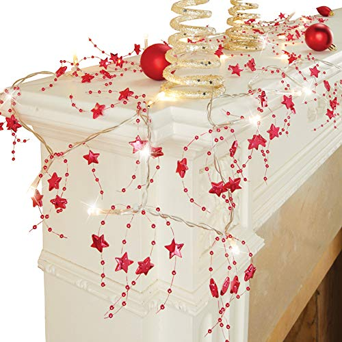 (Collections Etc Lighted Star Beaded Garland Holiday Decoration, Red)