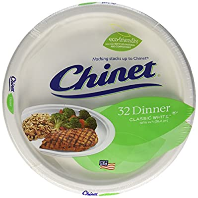 Chinet Classic White Dinner Plate - 10.375 Inch - 32 ct