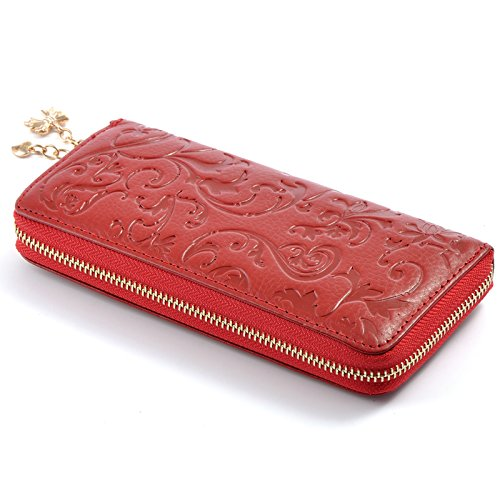 Yilen Women's leather wallet Morning Glory pattern Genuine Leather Purse Case Long Organizer Wallet Zippered Around Clutch / Mobile phone Pouch Case bag for Samsung galaxy S6/ Samsung galaxy S5/Samsung Galaxy Note4/Note 3 iPhone 6 plus 5.5 inch /iPhone 6 4.7inch HTC one M7/M8/M9 (Red)