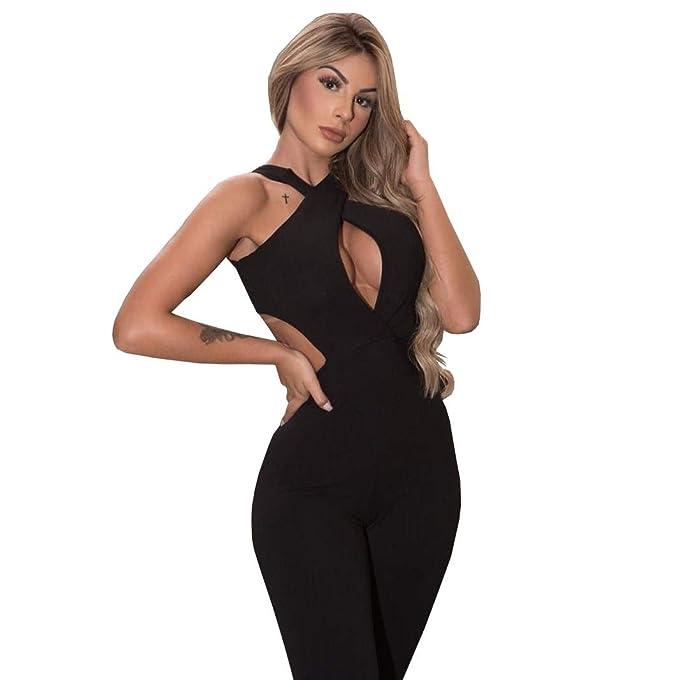 2dc480569508ea Macacão Macaquinho Longo Com Decote Feminino: Amazon.com.br: Amazon Moda