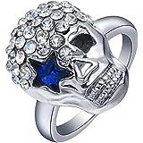 1.2ct 925 Silver Skull Star Eye Natural Sapphire Ring Gemstone Size 6-9 Wedding#by pimchanok shop (9, Sapphire)
