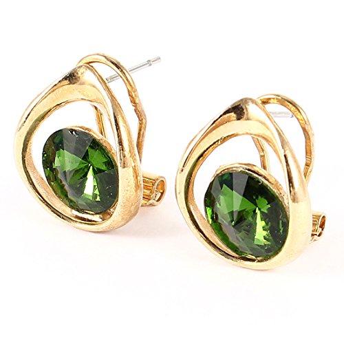 Lady Pair Crystal Decor Teardrop Design French Clip Ear Stud Earrings