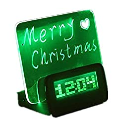eBoTrade Message Board with Highlighter Digital Alarm Clock with 4 Port USB Hub Creative Household/perfect Gift /It's a Message Boards,and a Alarm Clock,also Can Be a Light Green