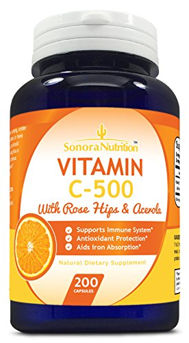 Sonora Nutrition Vitamin C with Rose Hips and Acerola 500 mg, 200 Capsules - 51KMyqqbNKL - Sonora Nutrition Vitamin C with Rose Hips and Acerola 500 mg, 200 Capsules