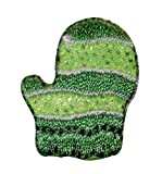 ID #7811 Green Winter Wear Snow Glove Mitten Embroidered Iron On Applique Patch