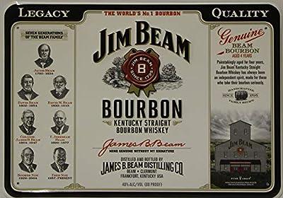 Jim Beam Whiskey Logo Metal Sign Legacy Seven Generations Kentucky Straight Bourbon