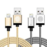 iOrange-E iPhone 6 Charger, Apple Certified 2 Pack 10ft Braided Lightning Cable & USB Data Sync Cord for iPhone 6 6S Plus 5S 5C 5, iPad Air, iPad Pro, iPad Mini 4, iPod Touch 5, Gold & Silver