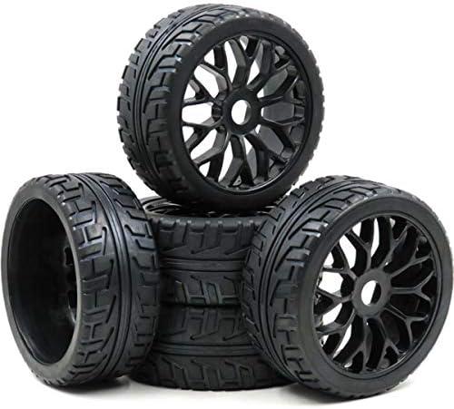hobbysoul RC 1/8 オンロードタイヤ 六角17mm ホイールリム 1:8 RCオンロードバギーカー用 5個
