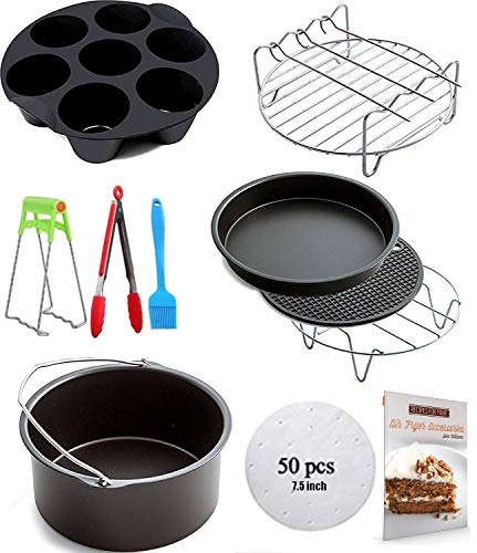 Ptsaying Air Fryer Accessories 10 sets +20  cookbook, air fryer basket baking pan,For Phillips, Gowise Universal XL power Air Fryer Accessory Kit Fit All 3.5QT-3.7QT 5.3QT-5.8QT, -7 Inch