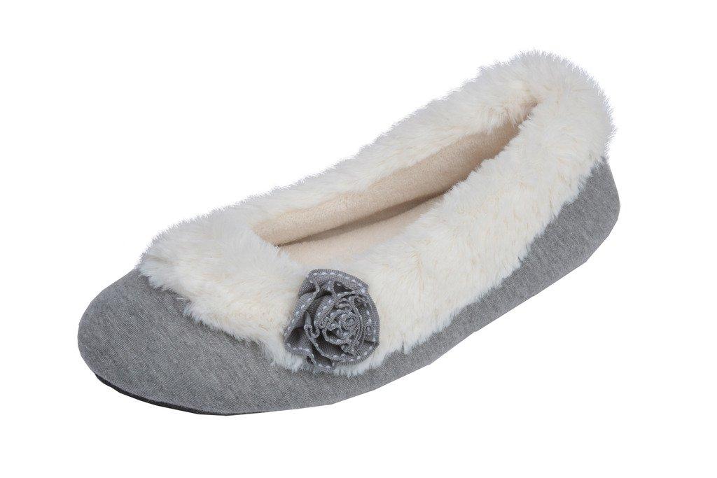 Beverly Rock Womens Ballerina Faux Fur Cuffed Slipper Shoe with Embellished Flower