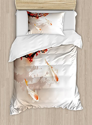 Twin Black Body - Lunarable Koi Fish Duvet Cover Set Twin Size, Sakura Branch and Leaves Sacred Animals in Small Body of Water Oriental Style, Decorative 2 Piece Bedding Set with 1 Pillow Sham, Peach Black Red