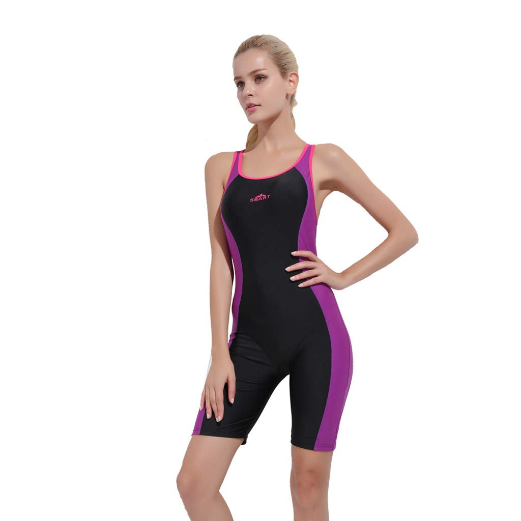 YEZIJIN Women Swimsuit Sexy One Piece Bodysuit Swimwear Professional Sport Bathing Suit Wetsuit top Long/Short Sleeve Purple by Yezijin_Swimsuit (Image #3)