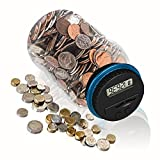 HeQiao Digital Money Bank Large LCD Money Jar Battery Operated Coin Bank US Dollar Coins Savings Box for Office Home Kids Children (Auto Counting) (Black/Blue)