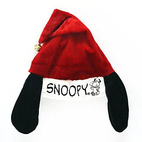 Peanuts Snoopy Charlie Brown Santa Hat with Ears & Bell - Adjustable (Snoopy) ()