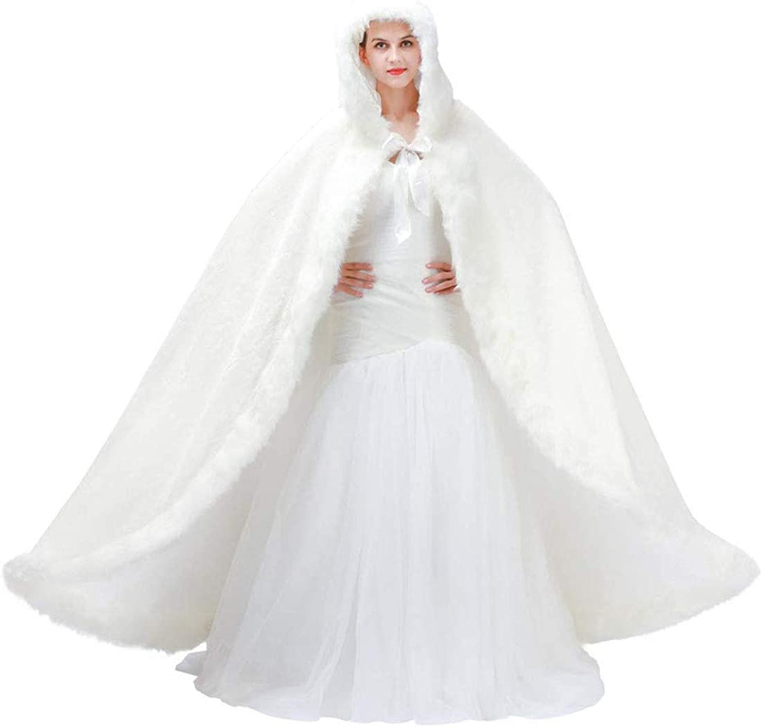 Details about  /Cathedral White Ivory Faux Fur Bride Hooded Cape Winter Wedding Satin Cloak Coat