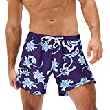 NUWFOR Fashion Men Breathable Trunks Pants Beach Print Running Swimming Underwear(Navy,US M Waist:32-39'')