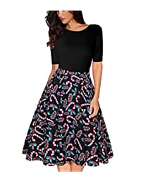 OLADY Women Vintage Patchwork Half Sleeve Pockets Slim Fit and Flare Swing Dress