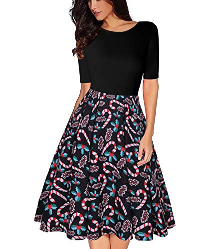 MISSJOY Women's Gift Pattern Dress Vintage Patchwork Half Sleeve A-Line Swing Dress with Pockets (L, Christmas)
