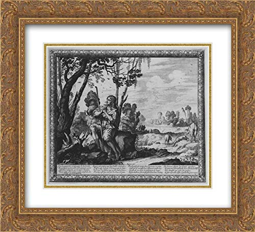 Abraham Bosse - 32x28 Gold Ornate Frame and Double Matted Museum Art Print - The Prodigal Son Guarding Pigs