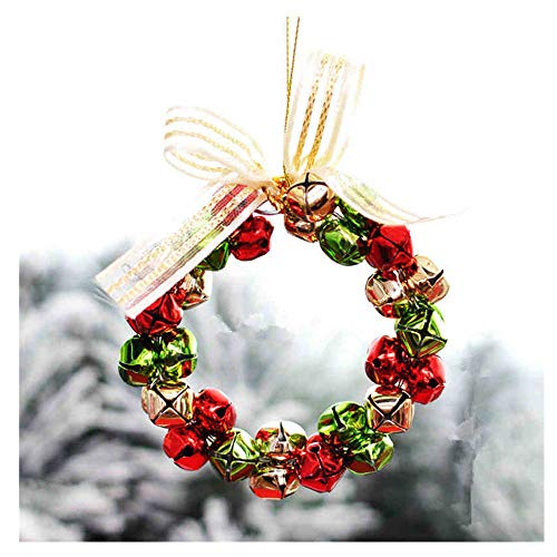 Christmas Hanging Ornament,1pcs Bowknot Jingle Bell Garland Hanging Decorations,for Crafts Party Home Decorations Ornaments (Multicolor)