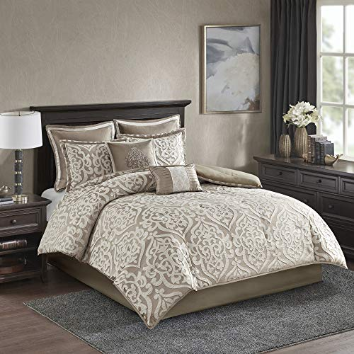 Madison Park Odette 8 Piece Jacquard Comforter Set, Queen, Tan (Tan Set Bedding)