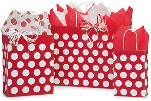 - Gift Bags, Assorted Sizes, Bundled with Coordinating Tissue Paper and Raffia Ribbon (Red Polka Dot)