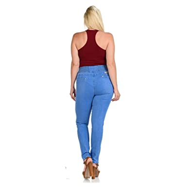 5da41cb539 Diamante Plus Size Colombian Design Butt Lifter Women Denim High Waist  Skinny Jeans -Light Blue