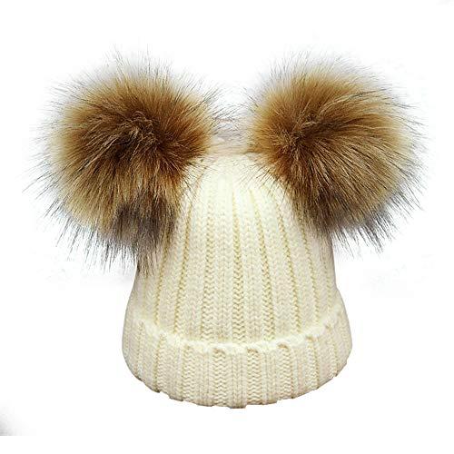 8d5f6c4c963f Kids Faux Raccoon Fur Ball Pompom Ears Winter Bobble Hat Knitted Double Pom  Cap Kids Beanie