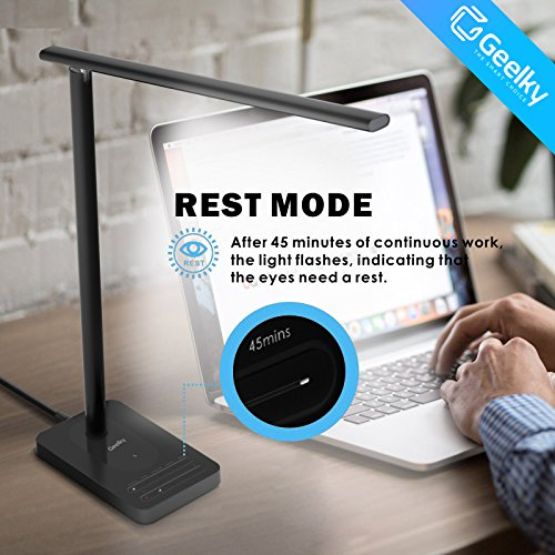 LED Desk Lamp with Qi Wireless Charger, Eye-caring Table Lamps, Dimmable Lamp with 5V/1A USB Charging Port, Office Desk Lamp, Touch, 4 Color Temperature Modes by Geelky (Jet Black) by Geelky (Image #5)
