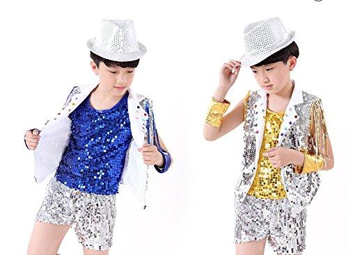 Modern Jazz Dance Costumes (Children's costumes boys suits modern jazz dance performance clothing girls children sequins veil summer (yellow boy, 120cm))