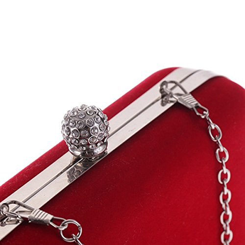 soir Noir embrayage mariage sac Flada rouge femmes à main rectangulaires flanelle simple strass pour OdqgFw