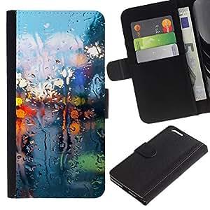 // PHONE CASE GIFT // Moda Estuche Funda de Cuero Billetera Tarjeta de crédito dinero bolsa Cubierta de proteccion Caso Apple Iphone 6 PLUS 5.5 / Wet Glass Lights /