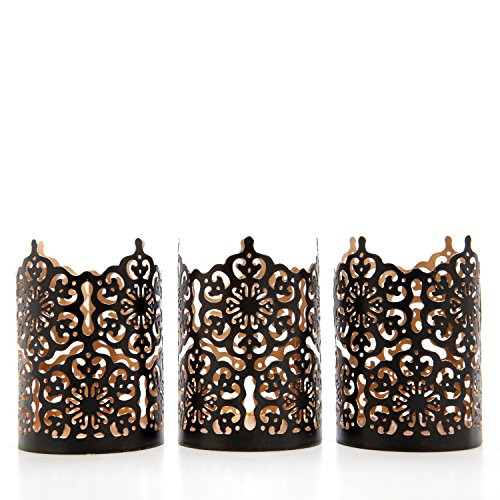 Hosley Set of 3 Black Finish Metal Candle Holder 4