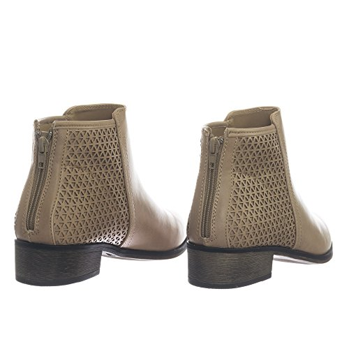 Bamboo Womens Western Ankle Bootie w Low Black Heel w Perforated Triangle Stone 0fYGx8MSg