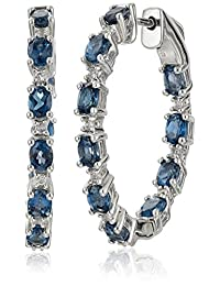 "Sterling Silver White Topaz Hoop Earrings, 1.25"""
