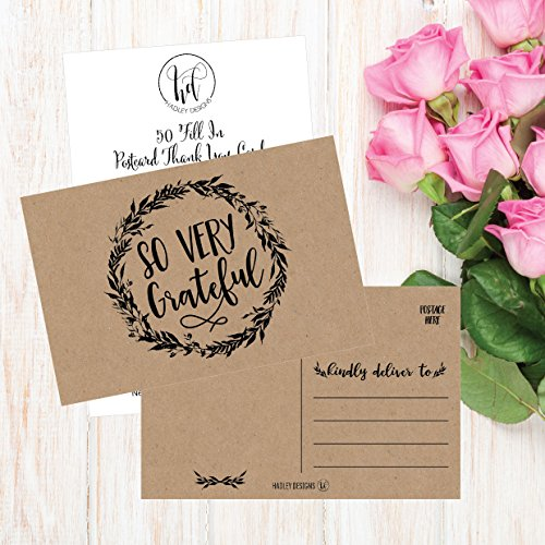 50 4x6 Rustic Kraft Thank You Postcards Bulk, Cute Matte Floral Thank You Note Card Stationery Set For Wedding, Bridesmaid, Bridal or Baby Shower, Teachers, Appreciation, Religious, Business, Holidays Photo #4