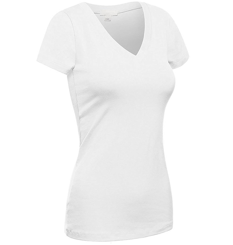 Emmalise Women's Plain Short Sleeve V Neck T Shirts