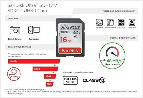 "2 Pack 16GB Sandisk Ultra Plus Class 10 48mb/s SDHC SD Memory Card SDSDUP-016G-A46 UHS-I For Digital camera Nikon Canon… 3 <p>""Twice as Fast as ordinary SDHC Cards Store lots of photos and Full HD videos-and transfer them quickly to your computer-using SanDisk Ultra Plus SDHC UHS-I Memory Cards. Great for compact-to-midrange point-and-shoot digital cameras and camcorders, these memory cards offer read speeds of up to 48 MB/s and are twice as fast as ordinary SDHC cards, allowing you to take pictures and transfer files quickly. SanDisk Ultra Plus SDXC and SDHC UHS-I Memory Cards come with up to 16GB of storage and are resistant to water, extreme temperatures, x-rays, and shocks. A label allows you to note what's on the card for easy identification. Great for capturing Full HD Videos SanDisk Ultra Plus SDHC UHS-I Memory Cards have Class 10 and UHS speed class 1 (U1) speed ratings for recording Full HD (1080p) videos. Enjoy smooth video recording performance whether you're recording a family get-together, sporting event, or school play. Up to 16GB of Storage Space SanDisk Ultra Plus SDHC UHS-I Memory Cards come with a data storage capacity available in 16GB, allowing you to take lots of photos and videos before having to change the card or transfer the files to your computer. Durable design for use in Extreme Environments SanDisk Ultra Plus SDHC UHS-I Memory Cards are shockproof, temperature-proof, waterproof, X-ray-proof, so you can enjoy your adventures without worrying about the durability of your memory card."" SanDisk Ultra PLUS SDXC and SDHC UHS-I Memory Cards have Class 10 and UHS speed class 1 (U1) SDHC UHS-I Memory Cards come with a data storage capacity available in 16GB SDHC UHS-I Memory Cards are shockproof, temperature-proof, waterproof, X-ray-proof Store lots of photos and Full HD videos and transfer them quickly to your computer using SanDisk Ultra PLUS SDXC Great for compact-to-midrange point-and-shoot digital cameras and camcorders</p>"