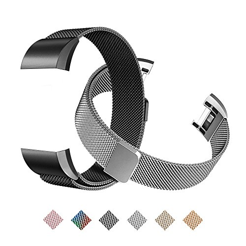 Tecson Magnetic Bands Compatible Fitbit Charge 2 (Pack of 2), Stainless Steel Metal Milanese Replacement Strap with Magnet Lock for Fitbit Charge 2, Silver and Black by Tecson
