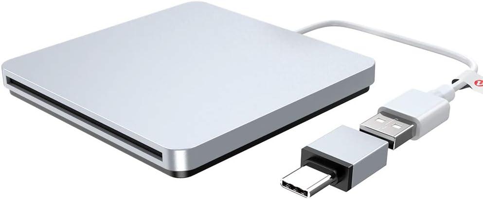 External CD DVD Drive USB Type C Burner Slot-in Portable Ultra Slim CD RW Drive Burner Superdrive Compatible for MacBook Pro Air iMac Laptop Notebook