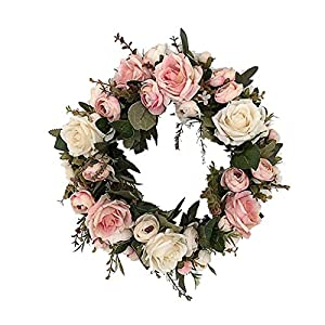 "Sandistore Artificial Rose Flower Wreath - Door Wall Ornament 13"" Rose Flower Door Wreath with Green Leaves Spring Wreath for Front Door, Wedding, Wall, Home Decor 57"