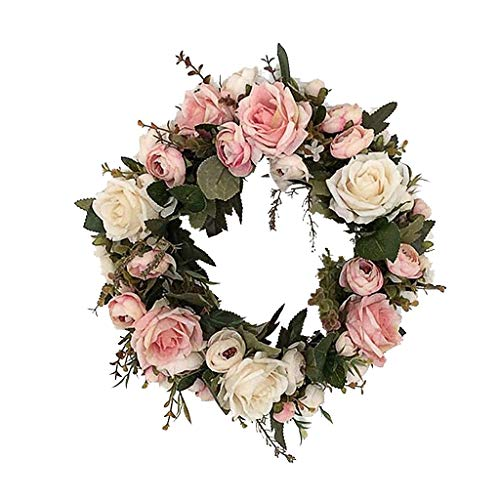 - Maikouhai Artificial Rose Wreath, 13 Inch Door Wall Ornament Flower Wreath Small Pink for Wall Home Office Bedroom Decor - PVC, Vibrant Decor
