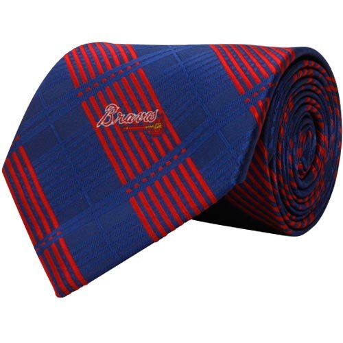MLB Atlanta Braves Royal Blue-Red Poly Plaid Woven Tie