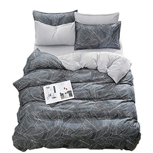 (ughome Queen Size Duvet Cover, Grey Botanical Leaves and White Grid Contrast 2 Tone Reversible Print Bedding Set, Soft Comforter Cover with 4 Ties)