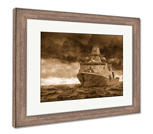 - Ashley Framed Prints Warship, Wall Art Home Decoration, Sepia, 26x30 (Frame Size), Rustic Barn Wood Frame, AG5829139