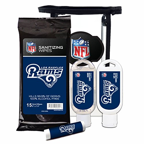 Worthy Promotional NFL Los Angeles Rams 4-Piece Premium Gift Set with SPF 15 Lip Balm, Sanitizer, Wipes, Sunscreen