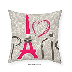 VROSELV Custom Cotton Linen Pillowcase Eiffel Tower Decor Collection Paris Lettering I Love Paris Over Lace Pattern Background Heart Shape Classic Bedroom Living Room Dorm 16x16