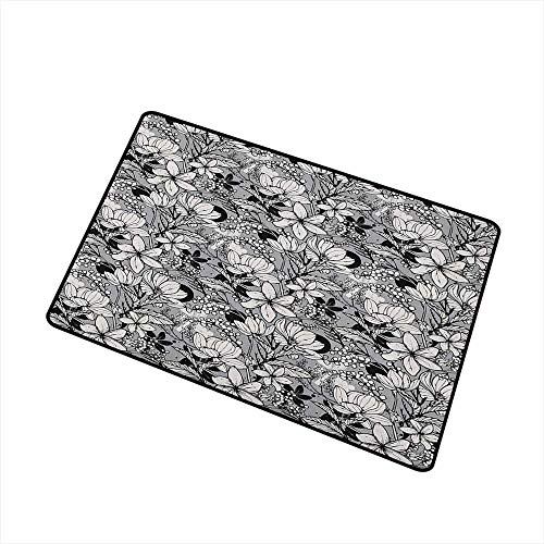 - Sillgt Garden Art Crystal Velvet Doormat Botanical Pattern with Hand Drawn Flowers Frangipani Mimosa and Lotus Easy Clean Rugs 16
