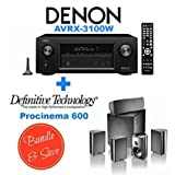 Denon AVR-X3100W 7.2 Channel Full 4K Ultra HD A/V Receiver with Bluetooth and Wi-Fi + Definitive Technology ProCinema 600 5.1 Speaker System Bundle