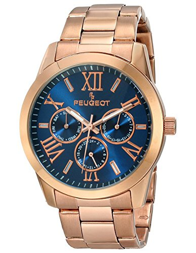 Peugeot Women's 7095NV Analog Display Japanese Quartz Rose Gold Navy Dial Watch